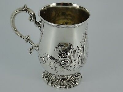 Lovely Victorian Solid Sterling Silver Embossed Christening Mug London 1856 160G
