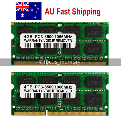 8GB 2X4GB DDR3 SODIMM PC3-8500 1066MHz 204Pin Laptop Notebook Memory RAM From AU