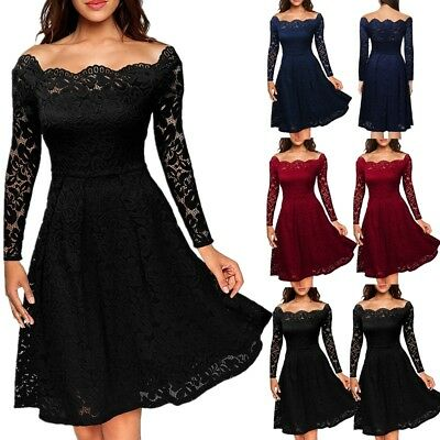 UK Women's Vintage Lace 1950s Rockabilly Cocktail Prom Party Evening Swing Dress