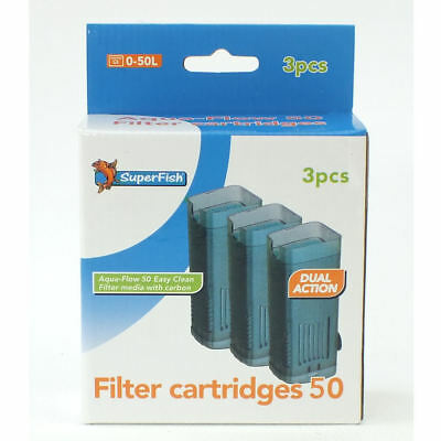 Superfish Aqua Flow 50 Easy Click Aquarium Filter Cartridge x 3 Replace Media