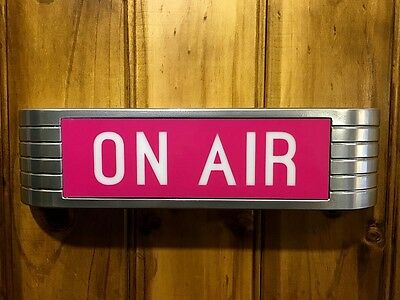 ON AIR Sign Lightup Reproduction old chrome RCA style with pink ONAIR lens