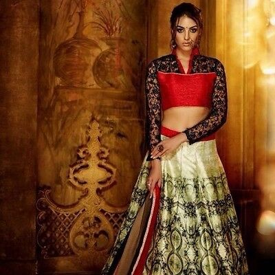 Unstitched Designer Indian Bollywood BANGLORI Silk LEHENGA CHOLI SAREE REDUCED