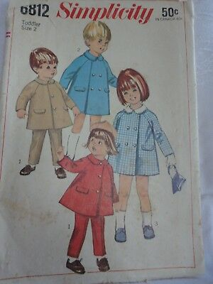 Vintage Sewing Pattern Toddler Coat and Pants Size 2 Simplicity Pattern 6812