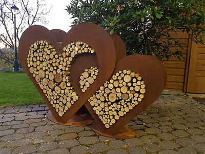 2 x herz aus metall set holz regal edel rost for Gartendeko rost herz