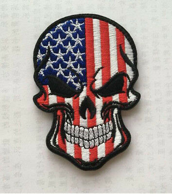United States Skull head MILITARY MORALE BADGES EMBROIDERED HOOK PATCH  sh+1069