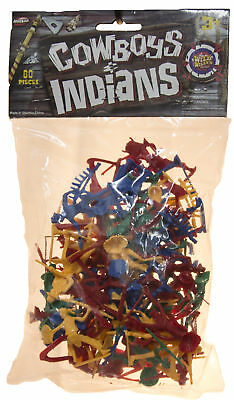 60 Piece Set of 2 Inch Plastic Cowboys and Indians Figurines