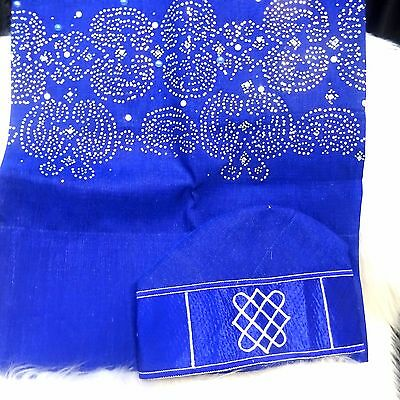 Celebrant Royal Blue Stones Aso Oke Gele Ipele Men Fila Cap Veil Bridal Lot
