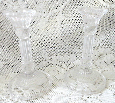 Vintage Lead Crystal Candlesticks Gorgeous Sparkly Perfect Wedding? Christmas?