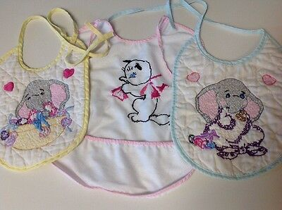 Vtg Lot 3 Pc Baby 50's Embroidered Cross Stitch 2 Quilted Bibs Elephant ~1 Kitty