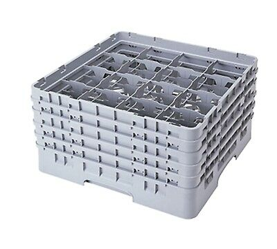 Cambro Camrack 16S958151 Full Size 16 Compartment Soft Gray Glass Rack with 5 Ex
