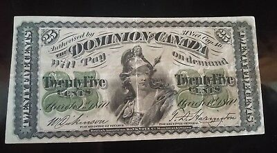 1870 25 Cents Shinplaster Dominion of Canada paper money sign nice  free ship