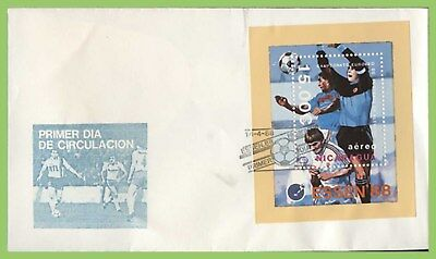 Nicaragua 1988 Essen 88' Football M/S on First Day Cover