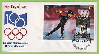 Nicaragua 1994 IOC Centenary, Olympics, speed skating M/S on First Day Cover