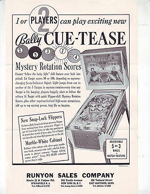 Bally Cue Tease Original Pinball Machine Advertising Sales Flyer Brochure 1963