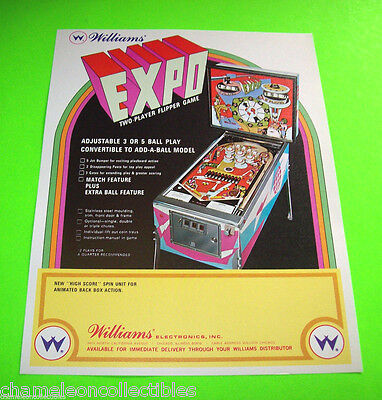 EXPO By WILLIAMS 1969 ORIGINAL NOS PINBALL MACHINE PROMOTIONAL SALES FLYER