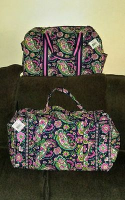 PETAL PAISLEY Vera Bradley ROUND DUFFEL and LARGE DUFFEL BAG 2 piece NWT RETIRED