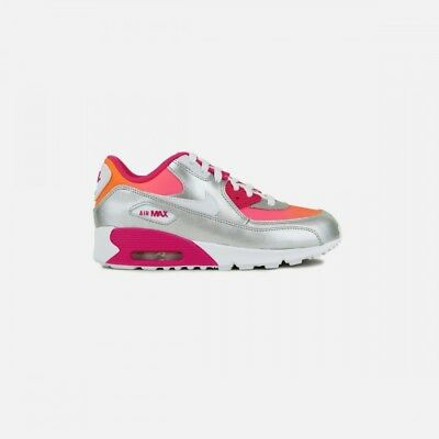 New Youth Nike Air Max 90 Running Shoe Style 724871-800 Silver/Wht/Pink 117X lr