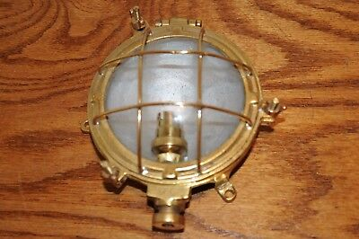 Vintage Nautical Lamp Light Maritime Lamps Lighting Brass Shell and Cage w Hinge
