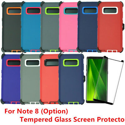 For Samsung Galaxy Note 8 Case w/ Tempered Glass Screen & Clip fits Otterbox