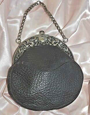 Antique Purse Dark Brown Pebbled Leather & Ornate Silver Frame Lined Ptd. 1900's