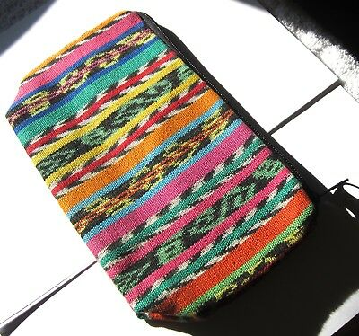 Colorful New Guatemalan Expandable Bottom Zipper Lined Cosmetic Pouch/clutch