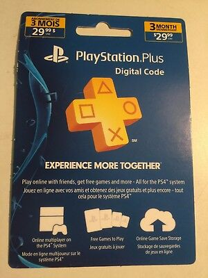 Sony PlayStation Plus Membership [ 3 Month ] (PS3 / PS4 / PS VITA) NEW