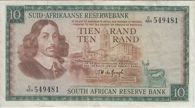 SOUTH AFRICA BANKNOTE P113 c-9481 10 RAND  FINE-VERY FINE