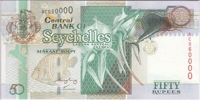 Seychelles Banknote P 38-0000  50 Rupees   Cute Number Extremely Fine