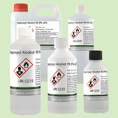 Isopropyl Alcohol / Isopropanol / IPA 99.9% 100ml to 1L