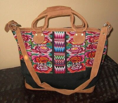 """new"" Large Guatemalan Huipil Textile/leather Overnight Bag/purse/tote"