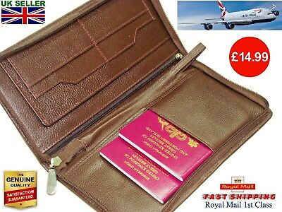 Leather Travel Wallet  Multi Passport Boarding Pass Ticket Cash Credit Cards