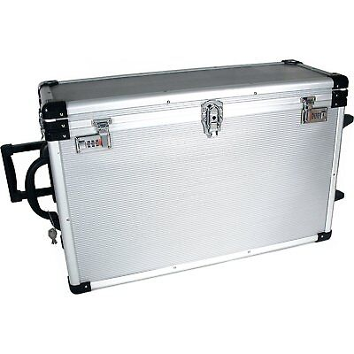 OpenBox 24 Trays Large Aluminum Rolling Jewelry Carrying Case