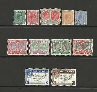 St Kitts Nevis Anguilla ~ 1938 King George Vi Definitives ( Part Set)
