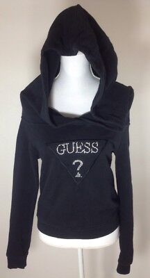 Women's Guess Hooded Black Sweatshirt Spell Out Bling 90's Small Medium Read