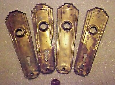 2 Vintage Art Deco Brass Door Backplates w Keyhole & Hole for Knobs Streamlined
