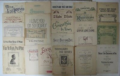 Antique Vintage Lot of 25 Pieces Sheet Music Decorative Lithographs Early 1900's