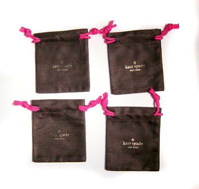 """Lot of 4 KATE SPADE Small Brown Jewelry Pouch for Earrings/Ring 4""""x4"""""""