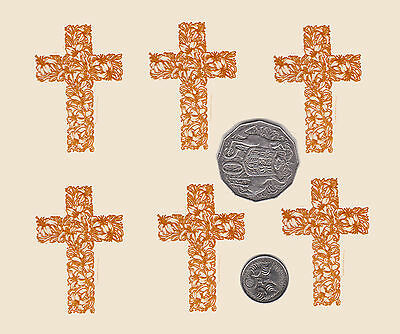 "6  x Waterslide ceramic decals Decoupage Gold Cross Religious  2"" x 1 3/8"" PD644"