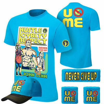 5pcs John Cena Sky Blue Throwback Mens Kids Boy Children T-shirt Hat Wristbands