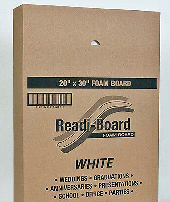"**Readi-Board 20"" x 30"" x 3/16"" Foam Board, 10 Count, White"