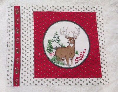 "CHRISTMAS Wildlife Deer Pillow Quilt Fabric Panel Cotton 18"" x 22"" NEW VIP print"