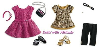 American Girl Golden Sparkle & MERRY MAGENTA OUTFIT Christmas NEW IN BOXES