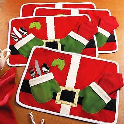 Christmas Tablecloth Table Mat Culter Holder Placemat Pad Table Decoration Xmas