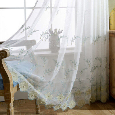 Flower Embroidered Sheer Curtains Beaded by Hand Lace Tulle Net Drape 1 Piece