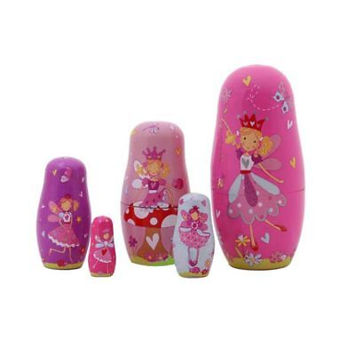 5Pcs Wooden Dolls Matryoshka Nesting Russian Fairy Angel Babushka Gift Set Gift