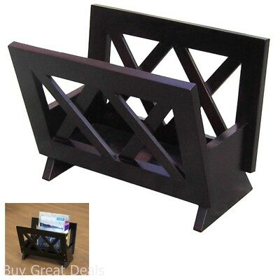 Freestanding Contemporary Rack For Magazines Newspaper Journals Books Wood Black