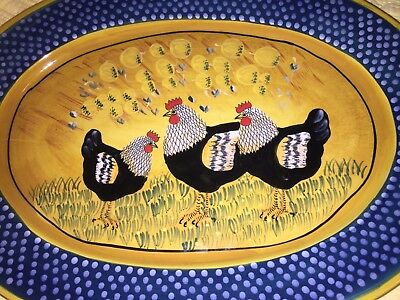 "Rooster 18X13"" Oval Server Plate by Giani for Ambiance Microwave Dishwasher EUC"