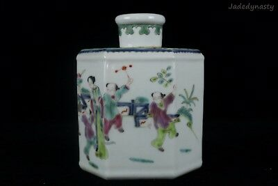 A Chinese Beautiful Famille Rose Porcelain Characters Tea Caddies