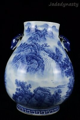 A Big Chinese Beautiful Blue and White Porcelain Landscape View Pot