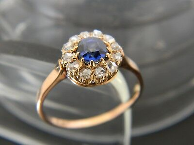 Antique Georgian Or Victorian 18Ct Gold Sapphire & Diamond Ring!